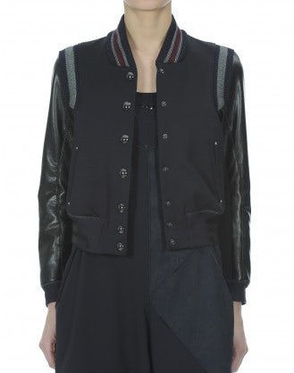 METRO: Tech leather and jersey bomber jacket