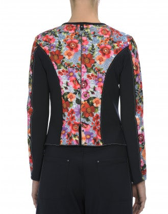 APLOMB: Multi-panel zip jacket in navy and multi floral tech jersey
