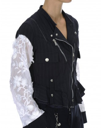 DODGEM: Tech pinstripe jacket with white chiffon sleeves