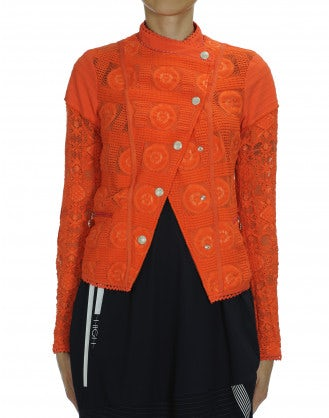 OUTWIT: Tangerine lace stud fronted jacket