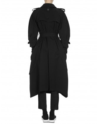 DIALECT: Cappotto a impermeabile in twill nero