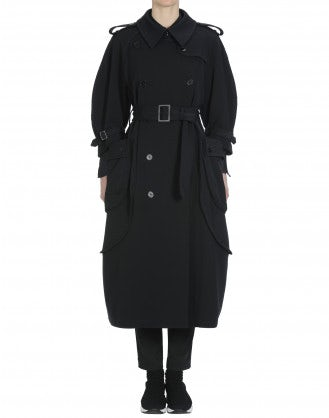 DIALECT: Cappotto a impermeabile in twill blu navy