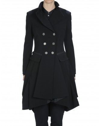 "ACT-OUT: Cappotto blu navy con ""gonna"" doppio petto"