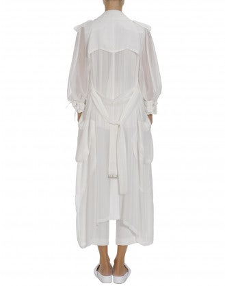 DIALECT: White organza trench coat