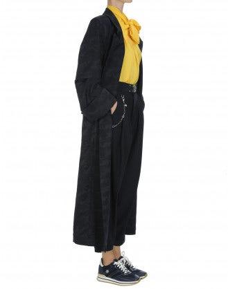 """BEGUILE: Navy damask """"robe"""" coat"""