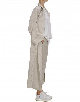 "BEGUILE: Cream damask ""robe"" coat"