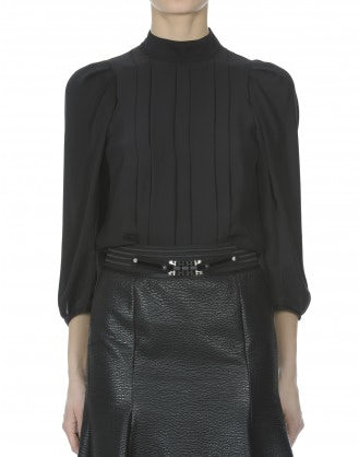ETUDE: Black pleated front high neck blouse