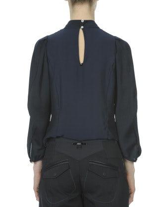 ETUDE: Blusa blu navy a collo alto con pieghe frontali