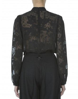 CELESTE: Blusa nera in fil coupé e raso tecnico