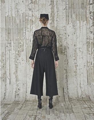 ELYPSE: Camicia nera trasparente con motivo dévoré