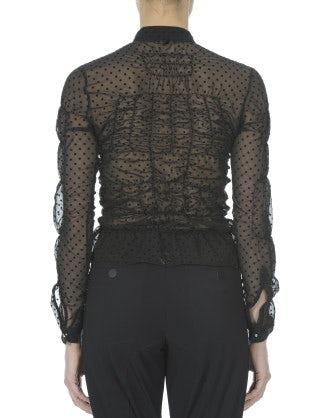 FRIVOL: Camicia nera in chiffon tecnico a pois