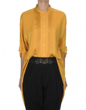 BIBELOT: Camicia stile smoking in raso color calendula