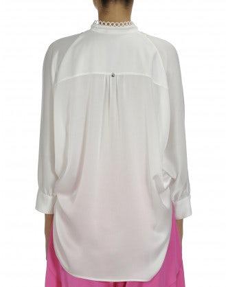 BIBELOT: White satin tuxedo shirt
