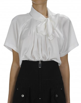 VANITY: Ivory short sleeve tie neck shirt
