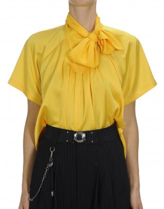 VANITY: Yellow short sleeve tie neck shirt