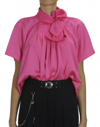 VANITY: Hot pink short sleeve tie neck shirt