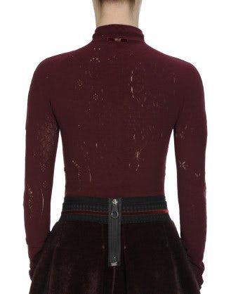 FREQUENCY: Body in maglia tecnica color borgogna