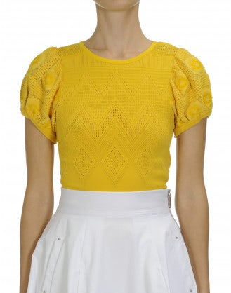 PINPOINT: Yellow seamless knit top