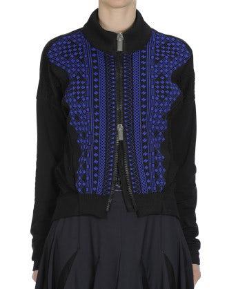 GENERATE: Cardigan blu e nero con zip