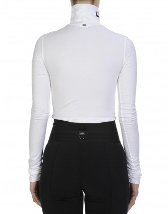 LOGICAL: Top a collo alto in cotone bianco