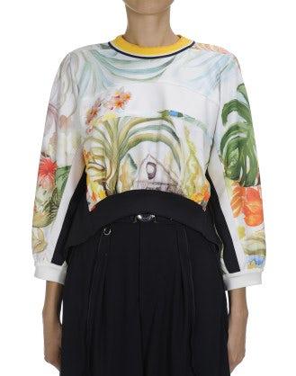 ALLUDE: Hi-lo hem floral print sweatshirt