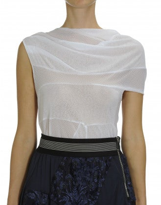 LIAISON: Asymmetrically draped mesh top