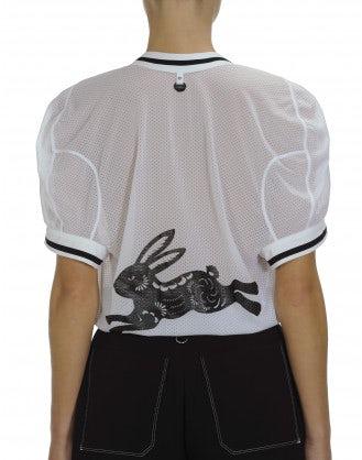 BELONG: White sports mesh V neck t-shirt