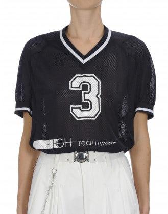 BELONG: Navy sports mesh V neck t-shirt