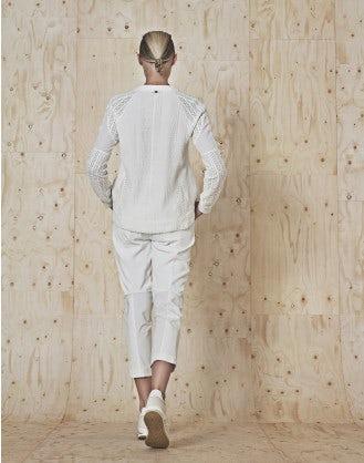OPTIMA: Top raglan bianco in jersey e pizzo