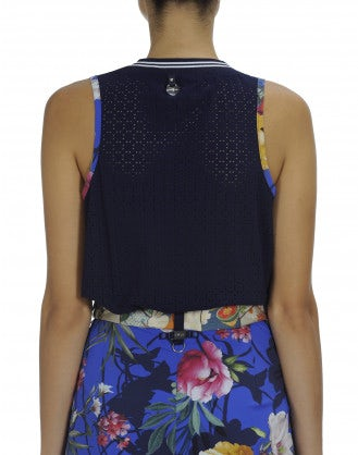 MIME: Floral print tank with sport rib