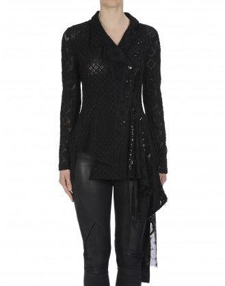 OVERJOYED: Black lace ribbons cardigan