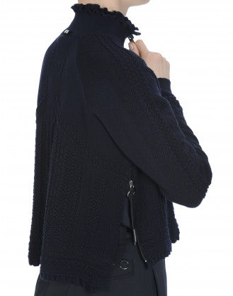 OVERTONE: Zip front high neck cardigan