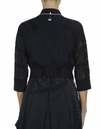 BOMB: Cropped cardigan in navy embossed jersey and lace