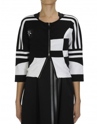 RALLY: Black and white cropped zip-up cardigan
