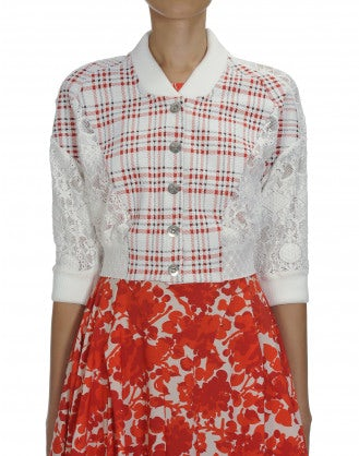 BOMB: Cropped cardigan in check jersey and lace
