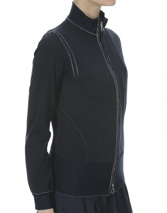 BEDECK: Navy with white stitch sport inspired jacket