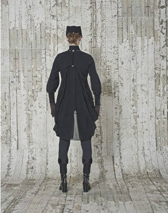 MAXIM: Cardigan-abito nero con drappeggio