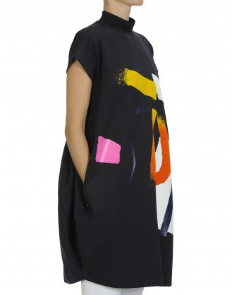 "REPRESENT: Brushstroke printed ""neoprene"" dress"