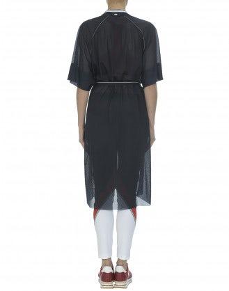 PHOTON: Navy sheer perforated jersey shirt dress