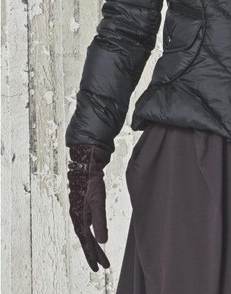 SNATCH: Guanti in velluto devoré borgogna