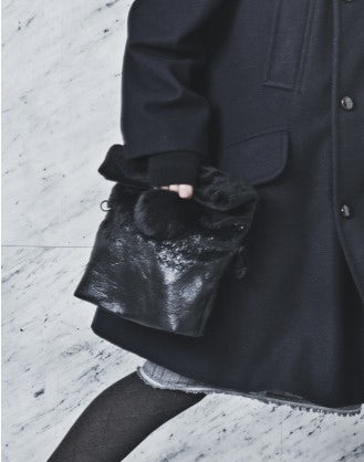 LUCRE: Black eco-fur bag