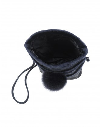 LUCRE: Navy eco-fur bag
