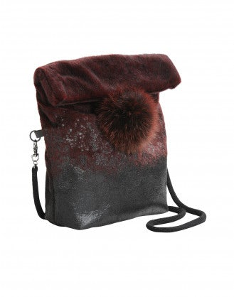 LUCRE: Burgundy eco-fur bag