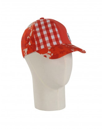 WATCH OUT: Red check and floral baseball cap