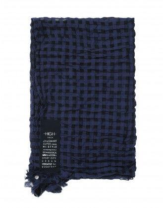 REASON: Navy rectangular checked scarf