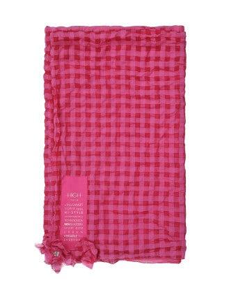 REASON: Fuchsia rectangular checked scarf