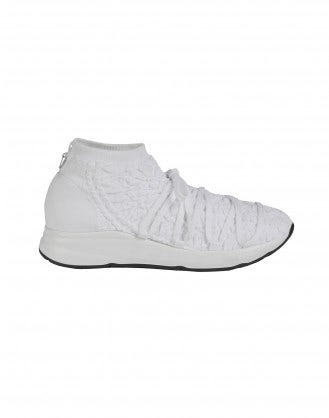 RADICAL: White technical knit sock sneaker