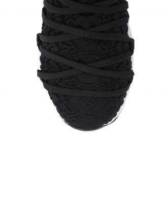 RADICAL: Black technical knit sock sneaker