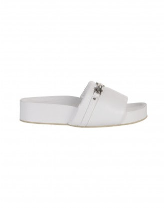 LIFT UP: White leather platform slides