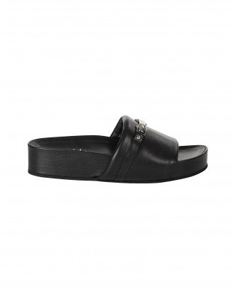 LIFT UP: Black leather platform slides